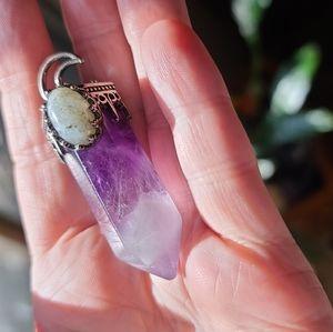 Amethyst & labradorite moon amulet pendant